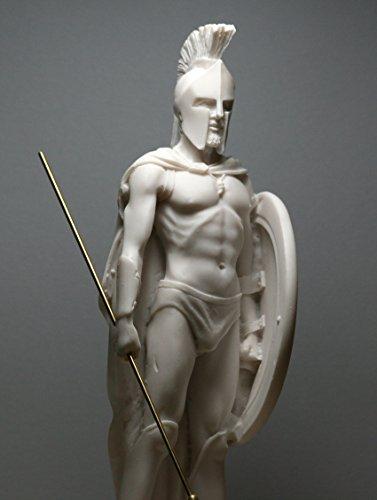 greekartshop Spartan King Leonidas Shield & Spear Cast Marble Statue Sculpture Figurine 9.45΄΄