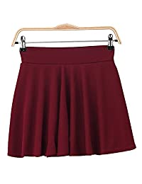OCHENTA Women's Versatile Stretchy Plain Casual Mini Flared Skater Skirt 2XL/3XL