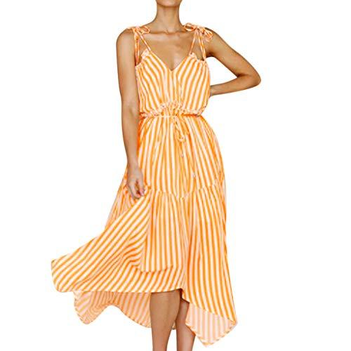 Pengy Women's Dress Stripe Print Fashion V-Neck Dresses Summer Boho Spaghetti Strap Swing Midi Beach Dress Yellow ()