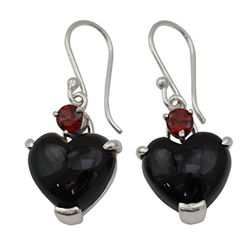 NOVICA Multi-Gem Onyx .925 Sterling Silver Dangle Earrings, Goth Love'