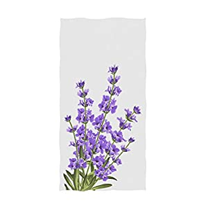 Naanle Beautiful Lavender Flower Print Elegant Soft Guest Hand Towels for Bathroom, Hotel, Gym and Spa (16 x 30 Inches,Violet White)