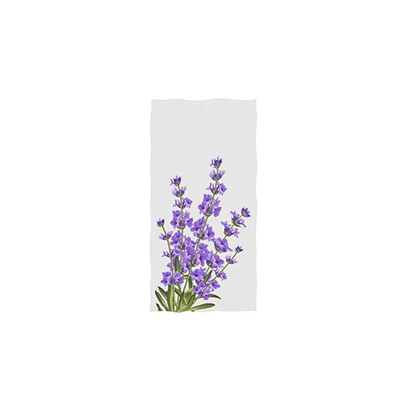 silk flower arrangements naanle beautiful lavender flower print elegant soft guest hand towels for bathroom, hotel, gym and spa (16 x 30 inches,violet white)