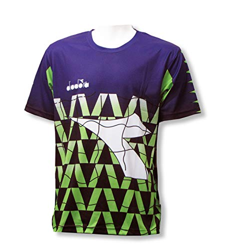 Jersey Graphic Goalkeeping (Diadora Fresco short-sleeve goalkeeper jersey with your number - Purple/Lime - size Youth Medium)