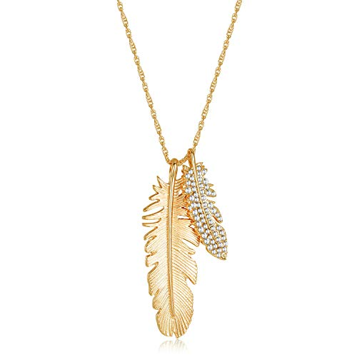 - Gold Feather Long Chain Necklace - 2 Feathers 14k Gold Plated Charm Plume Boho AAAAA CZ Drop Y Type Pendant Necklace for Women
