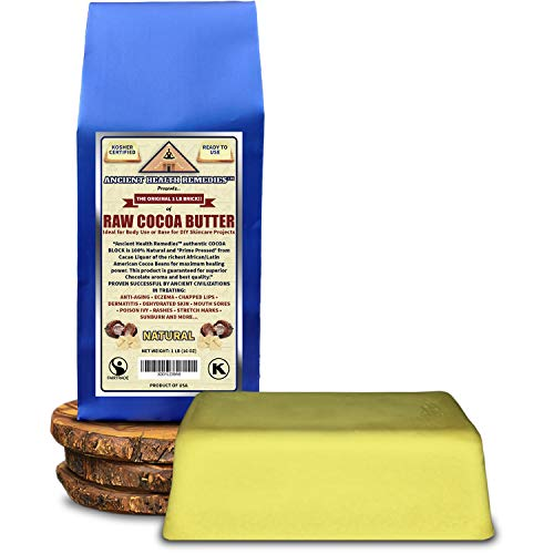 Fair Trade Cocoa Butter - Kosher Certified Raw NATURAL COCOA (CACAO) BUTTER 1 LB (16 oz) BLOCK Best Price Highest Quality Bulk Rich Chocolate Aroma For Lip Balms, Stretch Marks, DIY Base for Body Butter & Soap Making (USA)