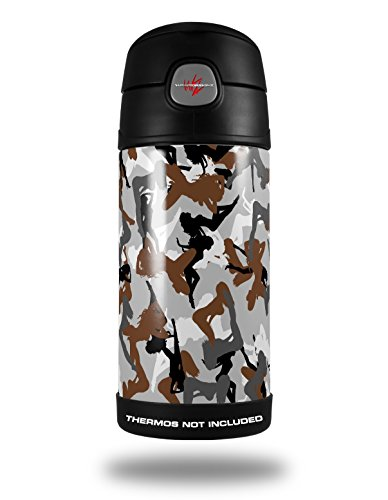 Skin Decal Wrap for Thermos Funtainer 12oz Bottle Sexy Girl Silhouette Camo Brown (BOTTLE NOT INCLUDED) by - Glasses Silhouette For Kids