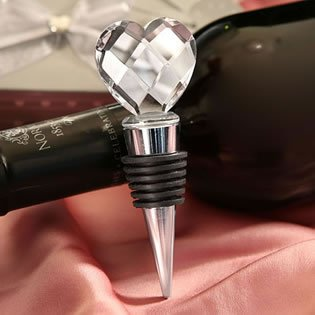 Elegant Chrome Bottle Stopper with crystal heart design Wedding Favors, 72 by Fashioncraft