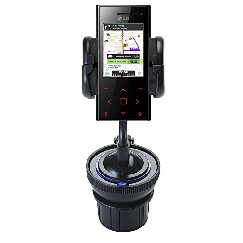 (Universal Vehicle Cupholder Adapter with Removable Suction Mount Cradle to Create Windshield Mount for LG New Chocolate BL20)