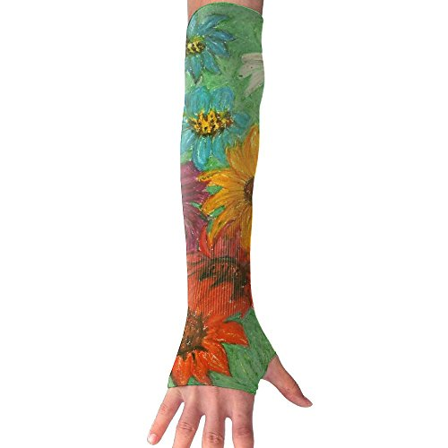 Sun Flower Watercolor Ultra Long Non Finger UV Resistant Gloves Gloves Sleeve, For Women And Men To Provide Sunscreen Protection 1 Pairs, For Outdoor Sports, Driving, Bicycles by WEIFG