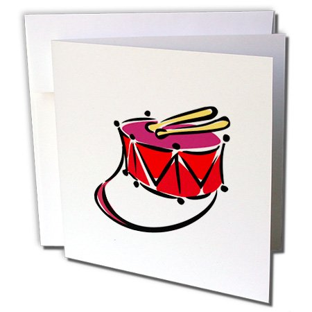 3dRose Susans Zoo Crew Music - snare abstracted sling toy red - 1 Greeting Card with envelope (gc_164398_5) -