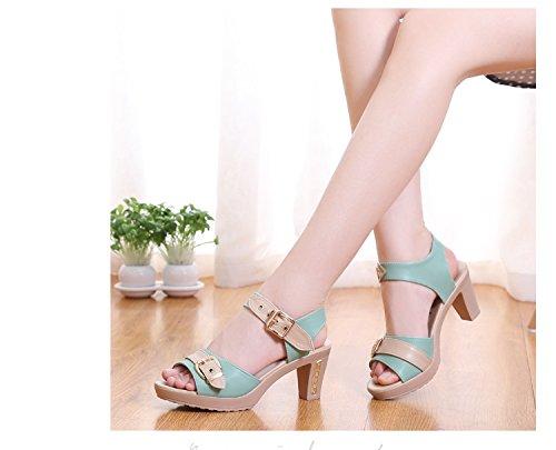 Moda Mujer verano sandalias confortables tacones altos,37 Silver Green