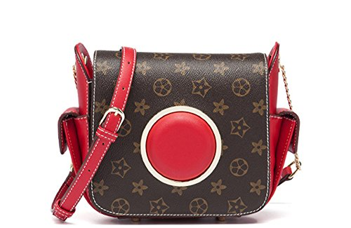 Bolsos de señora Xinmaoyuan golpeó el color de los bolsos de la cámara Pu hombro Messenger,negro Rojo