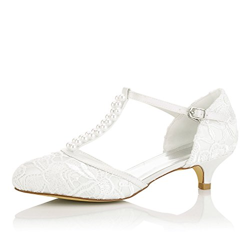 JIA JIA Women's Bridal Shoes 01129 Closed Toe T-Strap Low Heel Lace Satin Pumps Imitation Wedding Shoes Ivory EkES4Vg1Ki