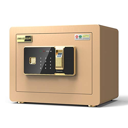 ehold Small Invisible Password Office Safe Anti-Theft Fingerprint Mini Alarm Safe Box 25cm Bedside Table Anti-mite Wardrobe Cabinet Safes (Color : Gold, Size : 352525cm) ()