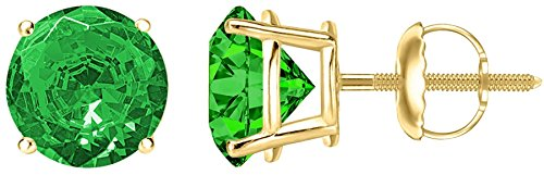 1/2 0.5 Carat Total Weight Emerald Solitaire Stud Earrings Pair 18K Yellow Gold Popular Premium Collection Screw Back by Houston Diamond District