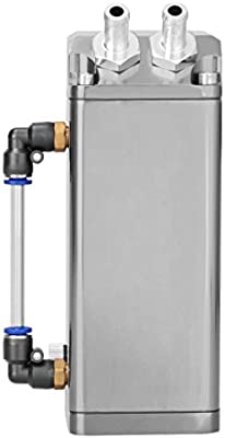Ambienceo Universal Oil Catch Reservoir Breather Tank Can Kit Silver Aluminio Square Engine
