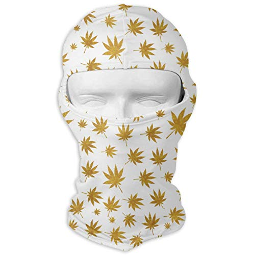 UV Protection Face Mask for Cycling Outdoor Sports Full Face Masks Abstract Cannabis Yellow Balaclava Hood Skullies -