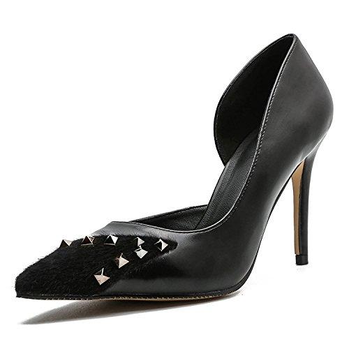 Mujer Altos Tacones de Heel y versátil alto Shoes Tacones Ruanlei del de Cerrado a Altos luz ElegantesElegante Sexy mujer Tacones Clásicas fashion la black Charol CqYxxzEw