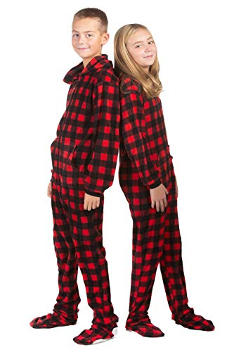 Hoodie Footed Onesie Buffalo Red & Black Plaid Fleece Footed Pajamas for Boys & Girls (Pajamas Teens Footed)