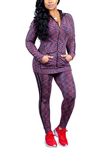 Women Outfits Strip Print Jacket Coat Long Pants Jogger Sweatsuits Two Piece Tracksuits Set Purple XL