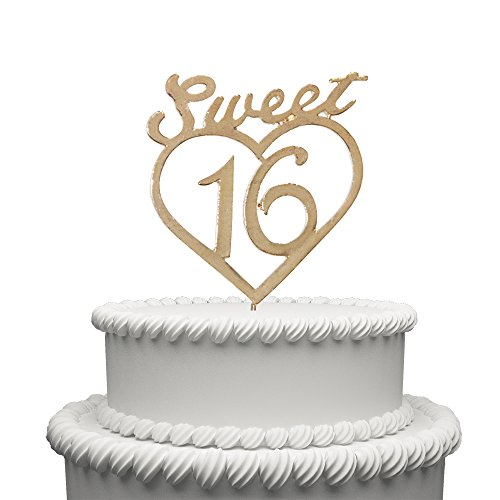 (Sweet 16 Cake Topper for 16 Years Birthday Or 16TH Wedding Anniversary Gold Love Heart Metal Party Decoration)