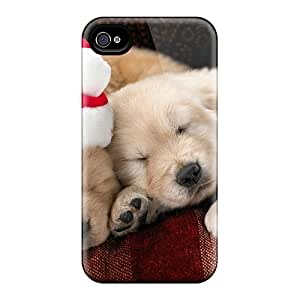 New Style Ajephke Santa Puppy Premium Tpu Cover Case For Iphone 4/4s