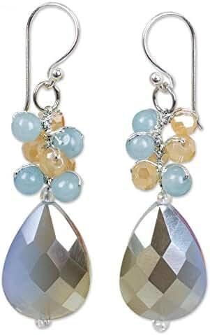 NOVICA Quartz Silver Plated Beaded Hook Earrings 'Winter Thaw'