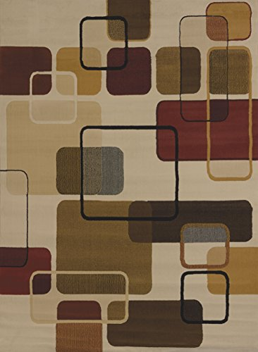 United Weavers of America China Garden Collection Jazz Heavyweight Heatset Olefin Rug, 7-Feet 10-Inch by 10-Feet 6-Inch, Linen