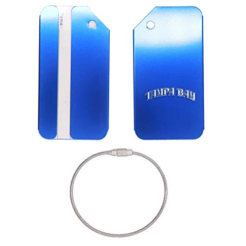 (MLB Tampa Bay Rays Words 2 STAINLESS STEEL - ENGRAVED LUGGAGE TAG - SET OF 2 (ROYAL BLUE) - FOR ANY TYPE OF LUGGAGE, SUITCASES, GYM BAGS, BRIEFCASES, GOLF BAGS)