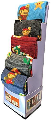 Super Mario Socks 5-Pack 8bit Casual Crew Socks for Men Size 8-12