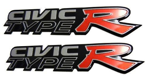 2 x Honda Civic Type R (pair/set of 2) Racing Badge Emblem for Honda Civic  EG EK K6 K8 CRX DC2 DC5 SI RSX JDM