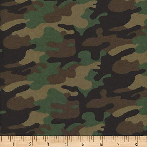 (Mook Fabrics Flannel Camo Fabric, Army, Fabric By The Yard)