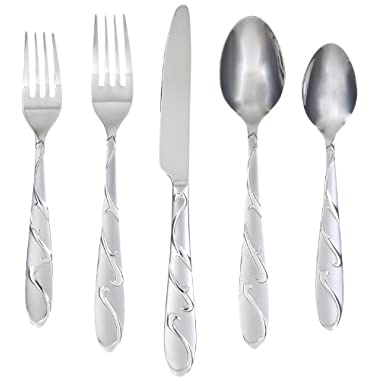 Farberware Chipotle Sand 20-Piece Flatware Set, 18/0 Stainless Steel