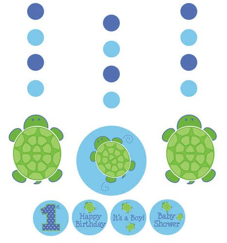 3-Piece Hanging Decorations with Stickers, Mr. (Turtle Baby Shower Decorations)