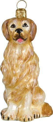 Joy to the World Collectibles European Blown Glass Pet Ornament, Golden (Retriever Glass Ornament)