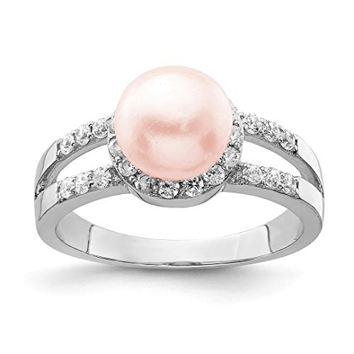 925 Sterling Silver Simulated Pink Pearl Cubic Zirconia Cz Band Ring Size 7.00 Fine Jewelry For Women Gift Set (Sterling Freshwater Silver Mounting Pearl)