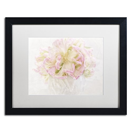 Pink Parrot Tulips Bouquet by Cora Niele Artwork in White Matte with Black Frame, 16 x 20