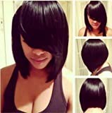MARIAN Fashion Hairstyles Sythetic Short Straight Bob Wig Jet Black 1b for Women with Side Bangs + a Free Wig Cap W8046