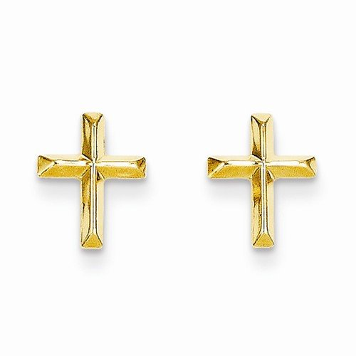 Crucifix Post (Solid 14k Yellow Gold Polished Cross Crucifix Post Studs Earrings (8mm x 6mm))