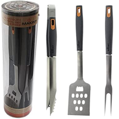 Makimy 3-Piece BBQ Tool Set - Gift Box - Best Value Grill Accessories Professional-Grade Heavy Duty Extra Strong Stainless-Steel With Non-Slip Handles on Amazon