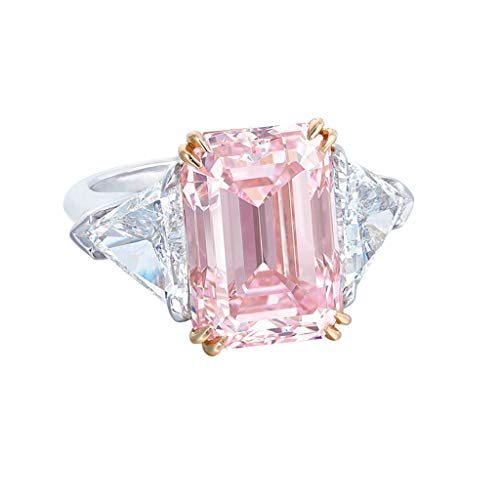 Winsopee Women Luxurious and Elegant Exquisite Pink Diamond Geometric Round Edge Square Ring Engagement Bridal Ring,Fashion Rings(Pink,6)