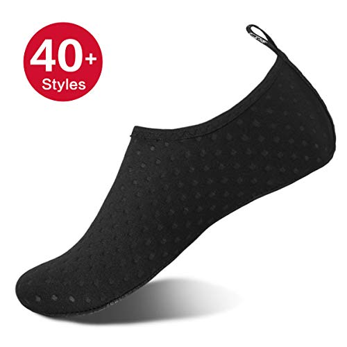 Womens and Mens Water Shoes Barefoot Quick-Dry Aqua Socks for Beach Swim Surf Yoga Exercise (Black/Dots, L)