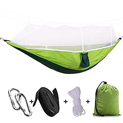 Portable Parachute Fabric Camping Hammock Hanging Bed With Mosquito Net Sleeping Hammock Outdoor Camping Accessories Novel Design; In
