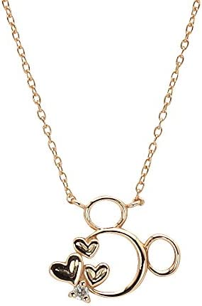 [Will o 'the Wisp] Wisp Disney Collection Mickey K10 Pink Gold Pendant Necklace with Diamonds (dpcdsw0001)