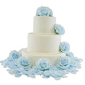TheBridesBouquet.com Light Blue Silk Rose Cake Flowers - Reception Decoration 95