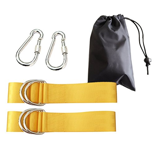 OUNONA Hammock Straps Tree Swing Hanging Strap Ropes with 2 Metal Buckle for Outdoor Activities (Yellow) by OUNONA