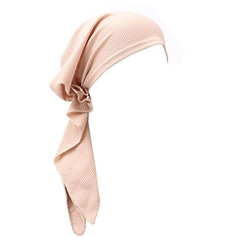 Weiliru Muslim Stretch Retro Floral Turban Hat Head Scarf Wrap Cancer Chemo Cap for Women/Ladies/Girls Beige]()