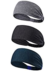 3PACK Lightweight Sport Headband/Non-slip Sweat Band - Stretchy Bandana Headwear - Best for Running Cycling Hot Yoga and Athletic Workouts - Fashion Elastic Hair Band for Women Men Teens Toddlers Girls