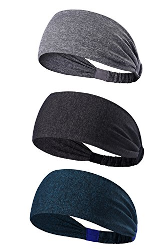 3PACK Lightweight Sport Headband/Non-slip Sweat Band - Stretchy Bandana Headwear - Best for Running Cycling Hot Yoga and Athletic Workouts - Fashion Elastic Hair Band for Women Men Teens Toddlers Girls (dark grey,grey,navy melange)