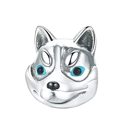 Love Dog Charm 925 Sterling Silver French Bulldog Charm Puppy Pet Dog Animal Charms for Dog Lovers (Love Dog - Husky)